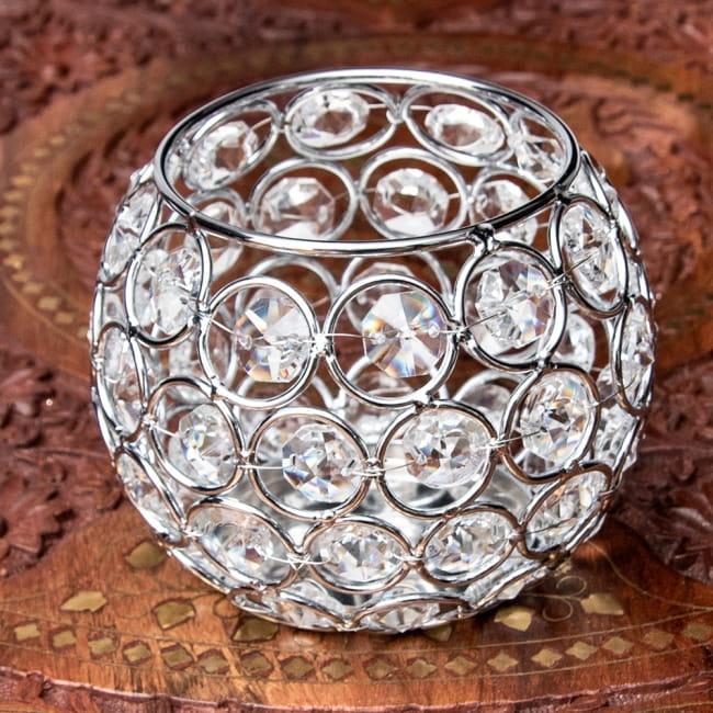 【金銀2色展開】クリスタルガラスのアラビアンキャンドルホルダー - ゴールド【高さ8.5cm】 12 - 2:シルバー