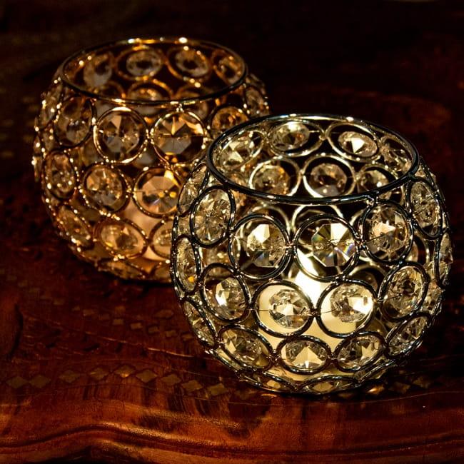 【金銀2色展開】クリスタルガラスのアラビアンキャンドルホルダー - ゴールド【高さ8.5cm】 2 - LEDキャンドルを灯してみました。