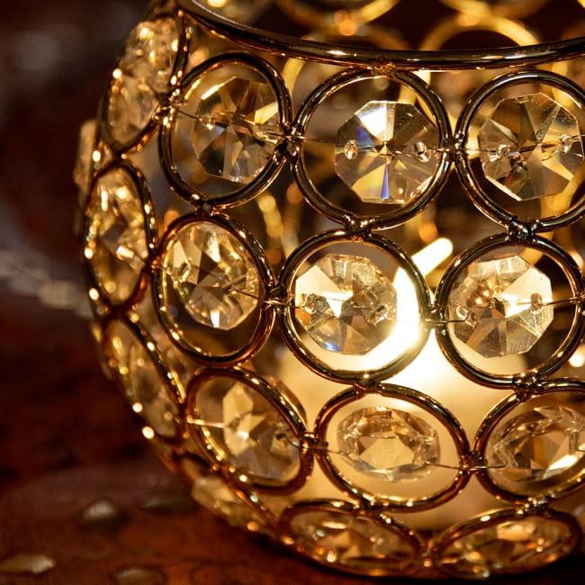 【金銀2色展開】クリスタルガラスのアラビアンキャンドルホルダー - ゴールド【高さ8.5cm】 4 - 近くで見てみました。