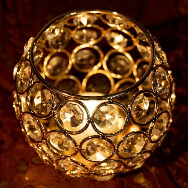 【金銀2色展開】クリスタルガラスのアラビアンキャンドルホルダー - ゴールド【高さ8.5cm】 5 - 上部からの写真です。