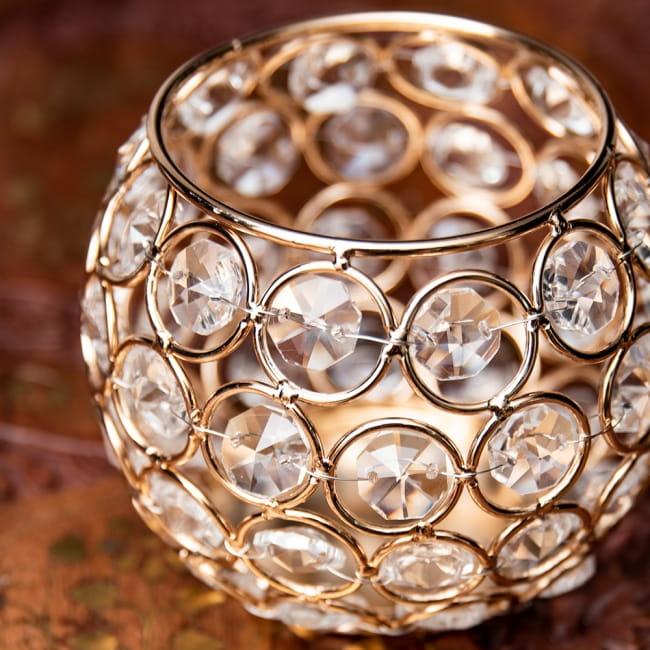 【金銀2色展開】クリスタルガラスのアラビアンキャンドルホルダー - ゴールド【高さ8.5cm】 7 - 丁寧に編み込まれています。