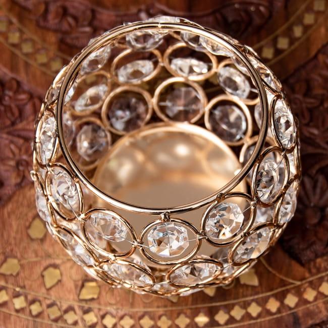 【金銀2色展開】クリスタルガラスのアラビアンキャンドルホルダー - ゴールド【高さ8.5cm】 8 - 上から見てみました。
