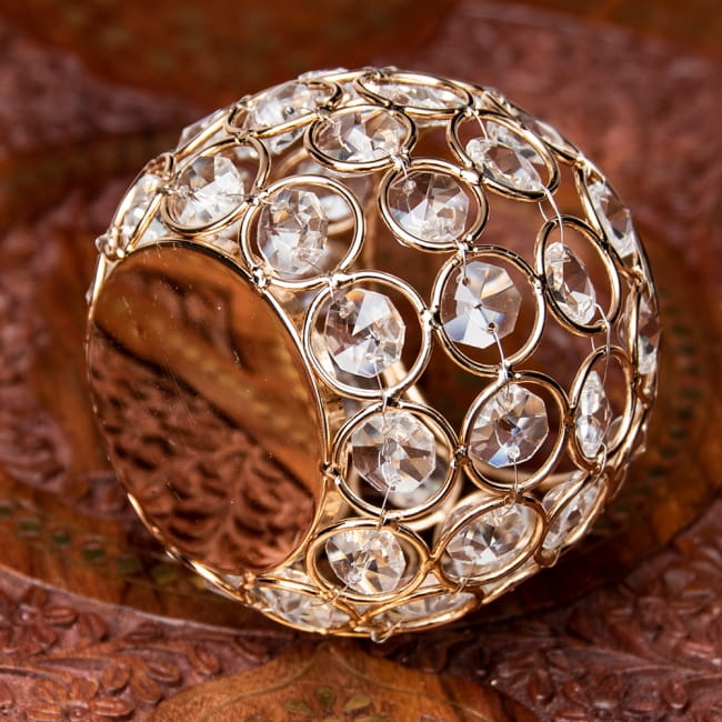 【金銀2色展開】クリスタルガラスのアラビアンキャンドルホルダー - ゴールド【高さ8.5cm】 9 - 底面の様子です。