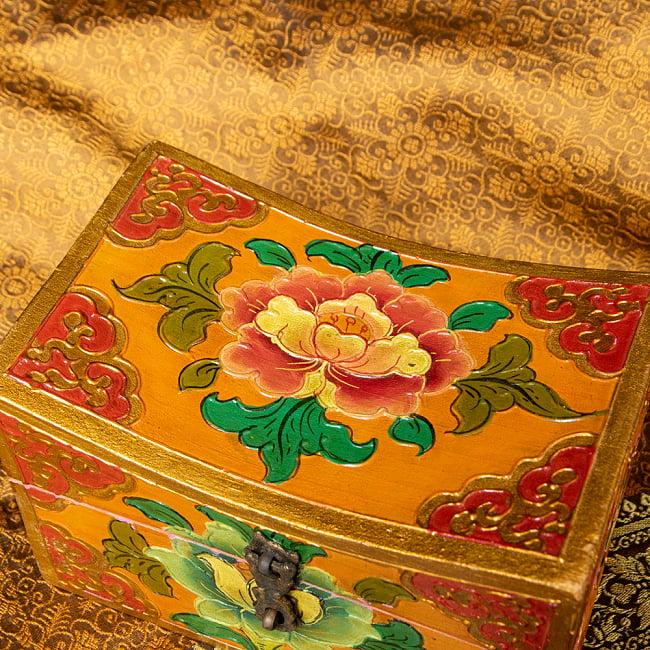 〔一点物〕チベットの伝統小物入れ 美しい色彩と吉祥文様 凹型 2 - 亡命チベット人の職人さんが手作りしています