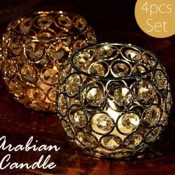 【選べる4個セット】【金銀2色展開】クリスタルガラスのアラビアンキャンドルホルダー - ゴールド【高さ8.5cm】