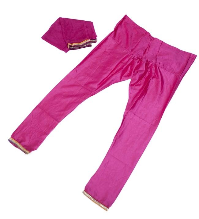 サフェードのパンジャビドレス 3点セット 白×ピンク 7 - ドレス、パンツ、ショールの三点セットです。