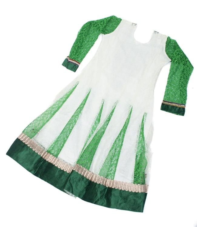 サフェードのパンジャビドレス 3点セット 白×緑の写真3 - 後ろ姿です。