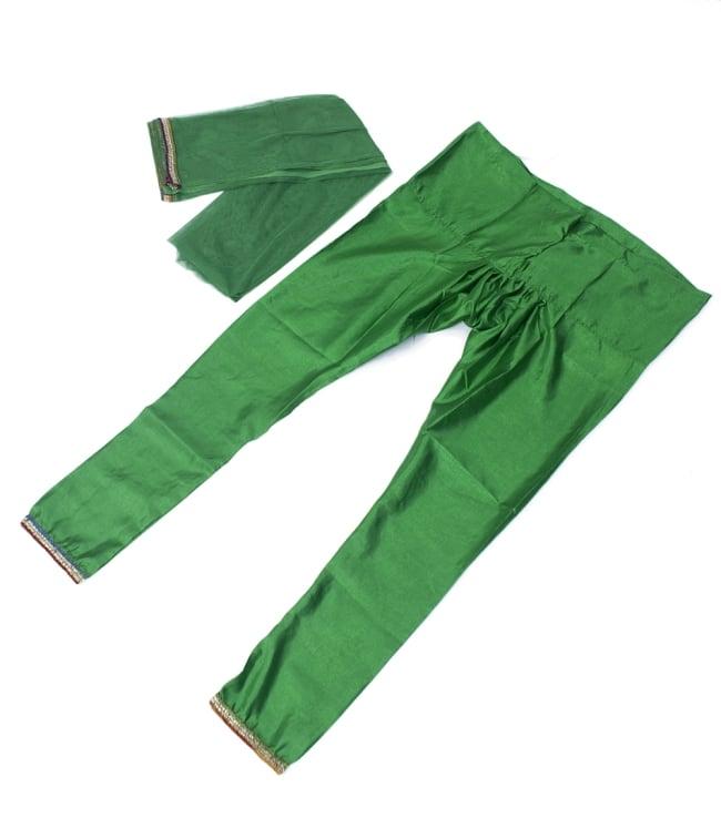 サフェードのパンジャビドレス 3点セット 白×緑の写真7 - ドレス、パンツ、ショールの三点セットです。
