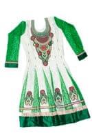 サフェードのパンジャビドレス 3点セット 白×緑