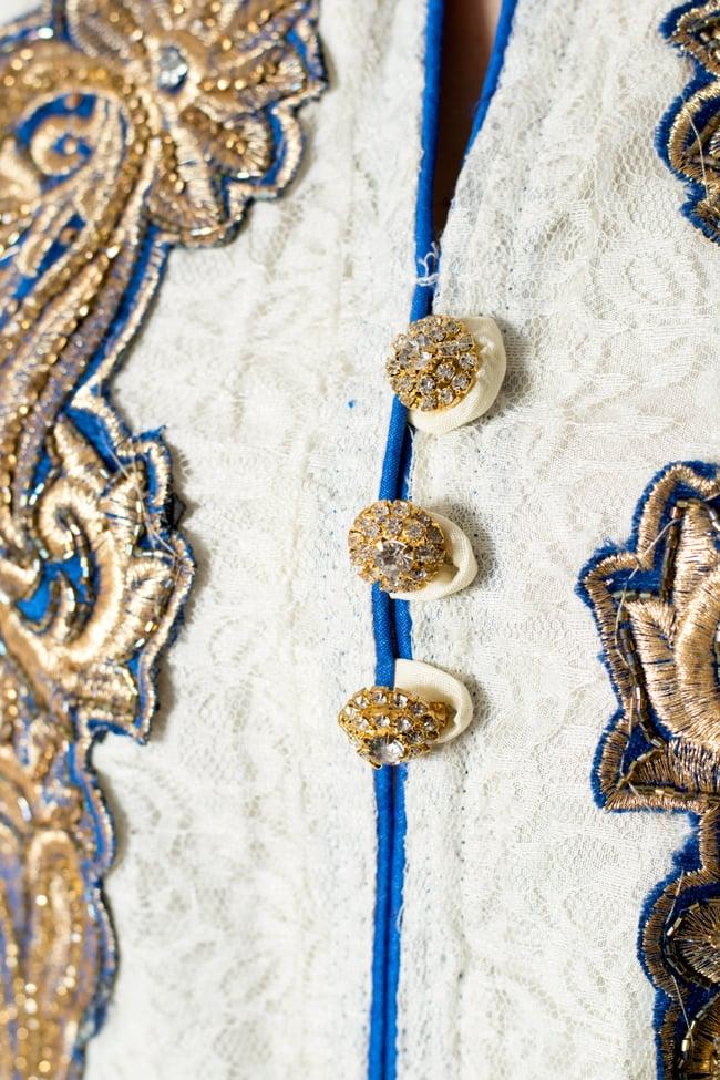 サフェードのパンジャビドレス 3点セット 白×青 6 - 胸元の様子です。