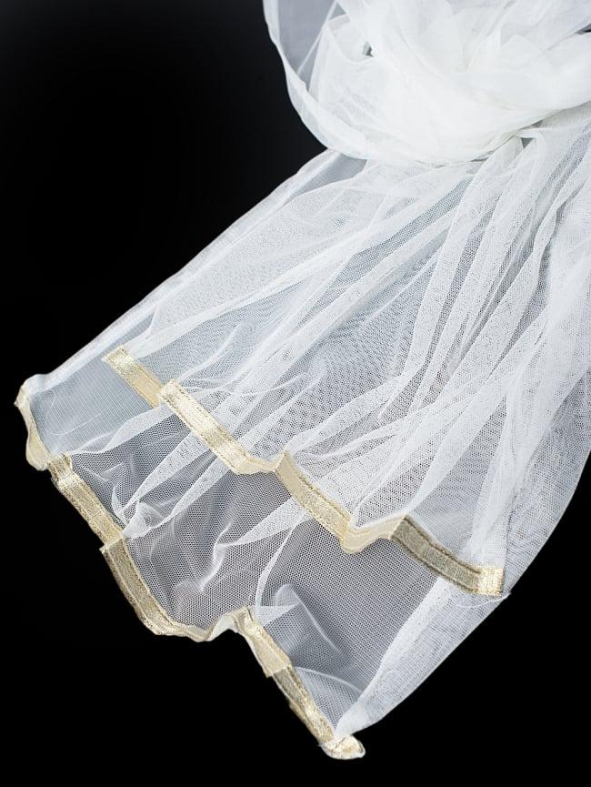 サフェードのパンジャビドレス 3点セット 白×濃青 11 - 透け感のあるレースのショールです。