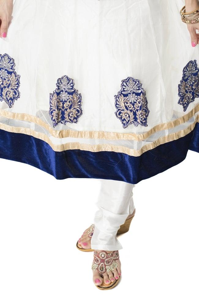 サフェードのパンジャビドレス 3点セット 白×濃青の写真6 - 裾の様子です。