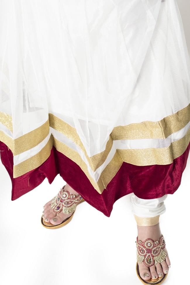 サフェードのパンジャビドレス 3点セット 白×赤 6 - 裾の様子です。