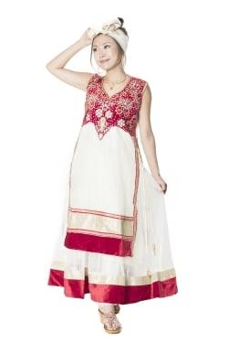 [インド品質/付属ズボン無し]サフェードのパンジャビドレス 3点セット 白×赤