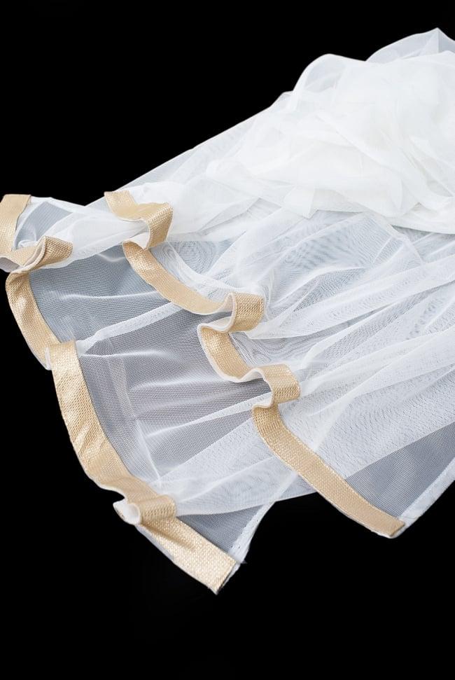 サフェードのパンジャビドレス 3点セット 白×赤の写真11 - 透け感のあるレースのショールです。