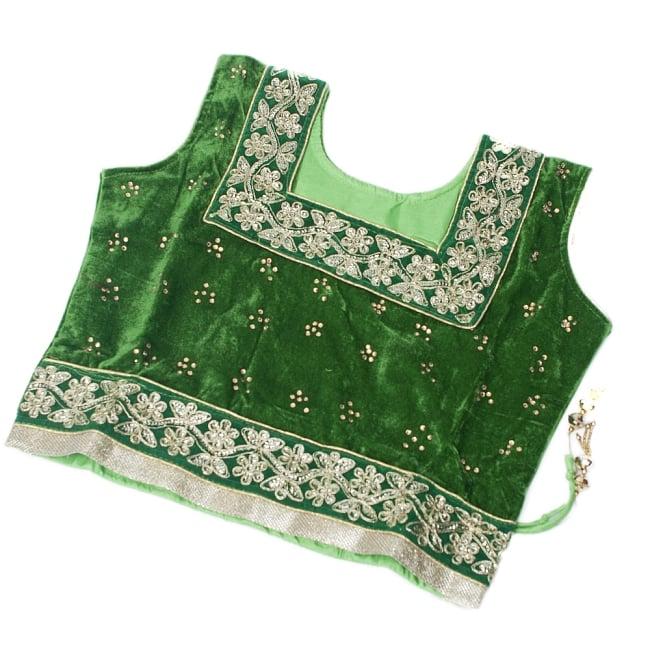 サフェードのレヘンガ 白×緑の写真9 - チョリを平置きしてみるとこのような様子です