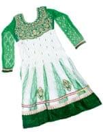 エスニック雑貨のセール品:[日替わりセール品]サフェードのパンジャビドレス 3点セット 白×緑