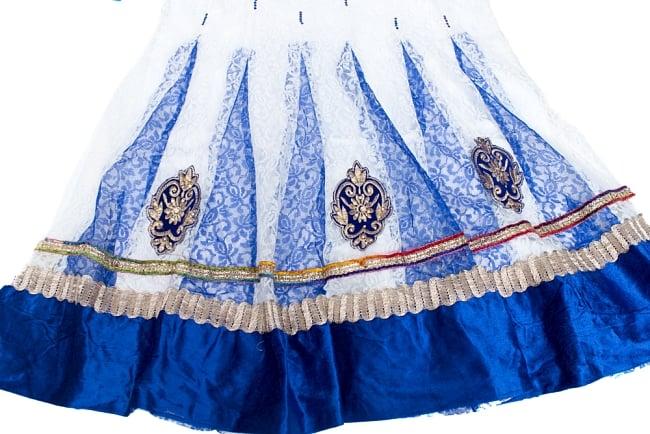 サフェードのパンジャビドレス 3点セット 白×青 4 - 刺繍やスパンコールで華やかに飾られています。