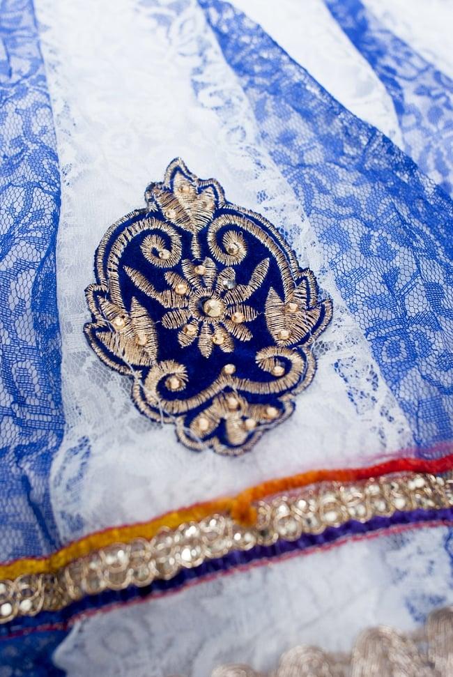 サフェードのパンジャビドレス 3点セット 白×青 5 - 裾をアップにしてみました。