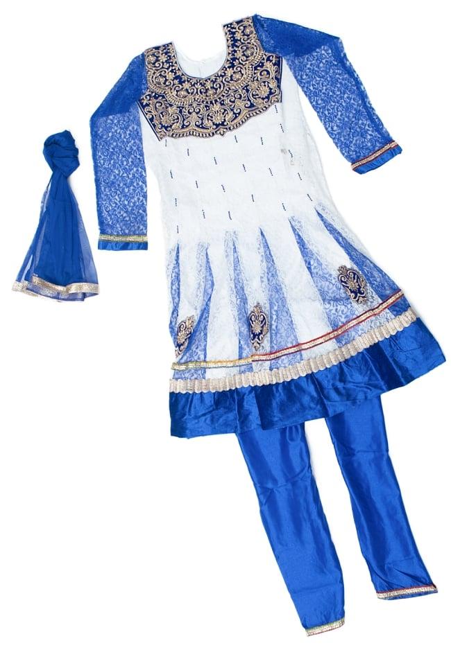 サフェードのパンジャビドレス 3点セット 白×青の写真