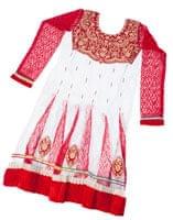 サフェードのパンジャビドレス 3点セット 白×赤