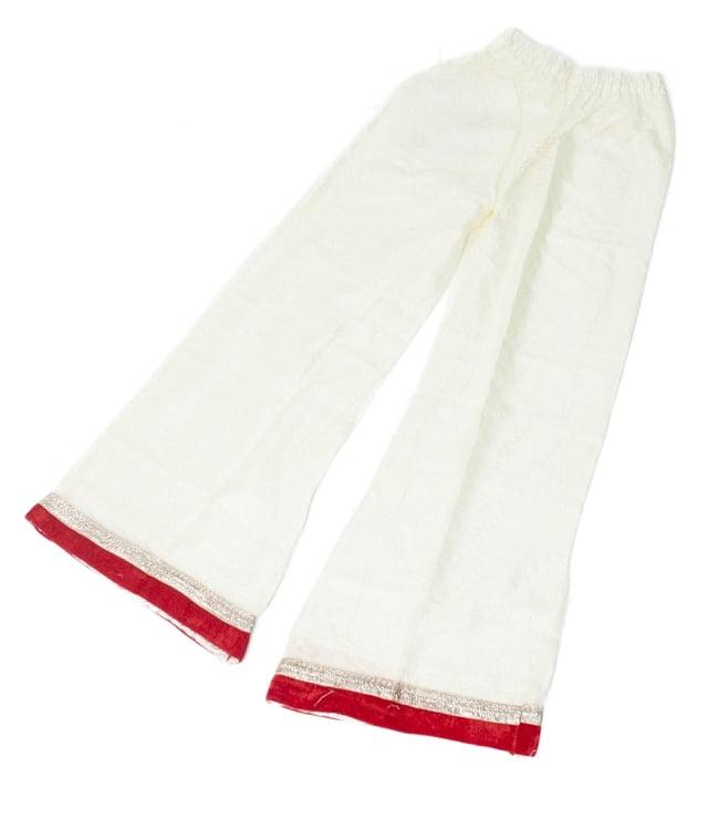 サフェードのパンジャビドレス 3点セット 白×赤の写真10 - ボトムスを平置きしてみました