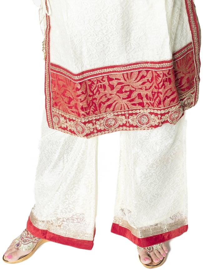 サフェードのパンジャビドレス 3点セット 白×赤の写真8 - 裾の様子です。