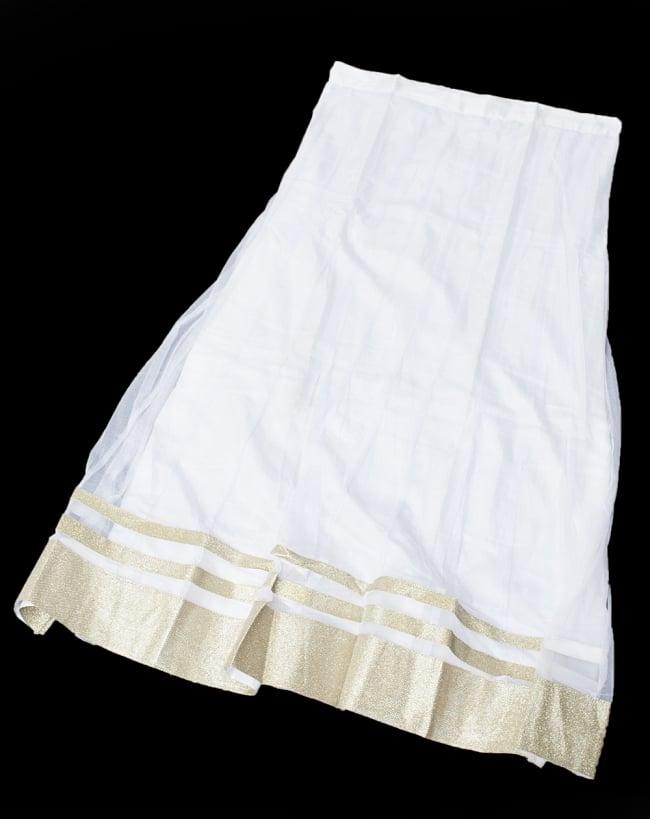 サフェードのパンジャビドレス 4点セット 白×金色の写真11 - スカート部分の様子です。