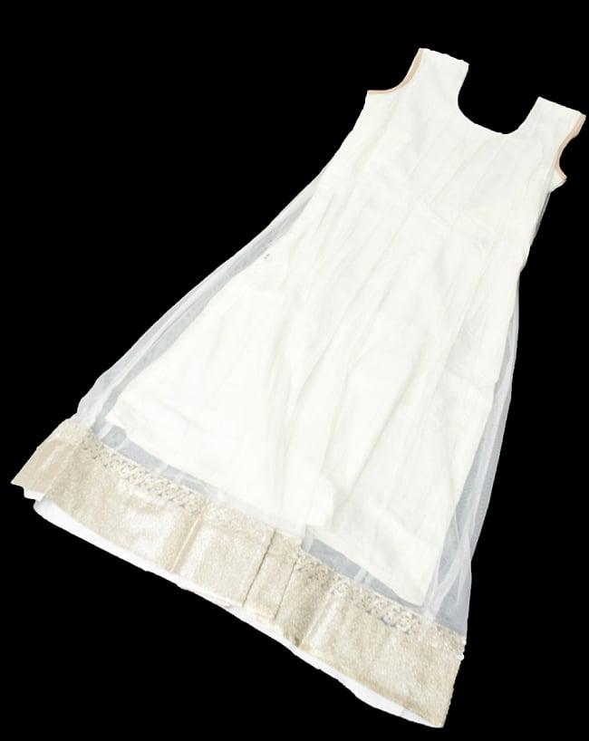 サフェードのパンジャビドレス 4点セット 白×金色の写真11 - インナーの様子です。