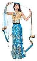 【1点物】インドのゴージャスドレス-スカイブルー