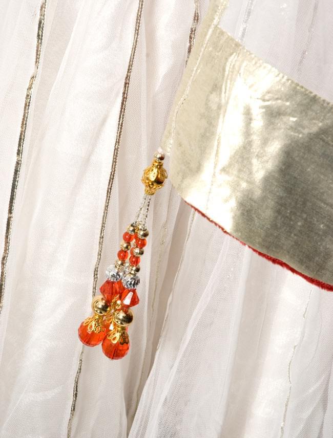【1点物】インドのゴージャスパンジャービードレス-白×赤 6 - 裾をアップにしてみました。