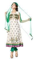 【1点物】インドのゴージャスパンジャービードレス-白×緑