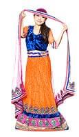 【1点物】インドのレヘンガ 【青×オレンジ】