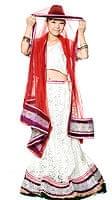 【1点物】インドのレヘンガ 【白×赤】