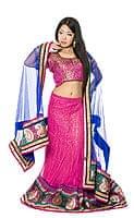 【1点物】インドのレヘンガ 【ピンク×青】