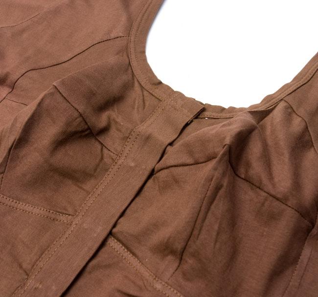 前開きコットンストレッチチョリ -茶 2 - 胸の部分が立体的な作りになっているので、とても綺麗に着ることができます。