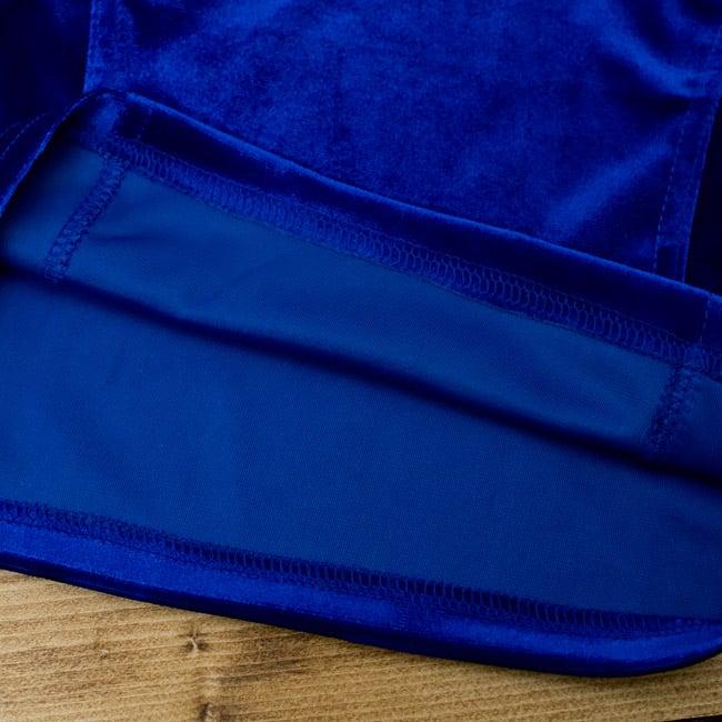 ベルベットのストレッチチョリ - ブルーの写真3 - 裏生地はこのような感じでツルッとしているので、とても着やすいです。