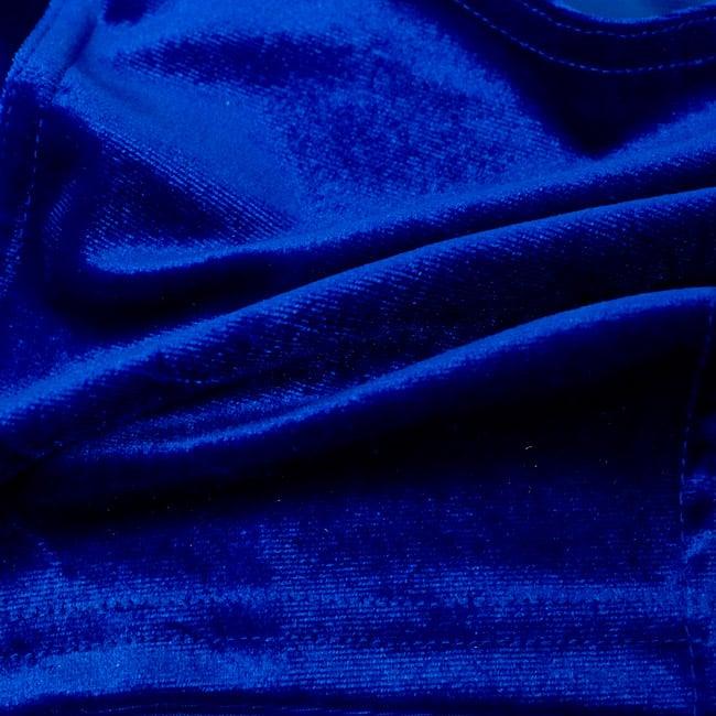 ベルベットのストレッチチョリ - ブルーの写真4 - ベルベット素材なので、光のあたり方によって光沢の変化があり美しいです。