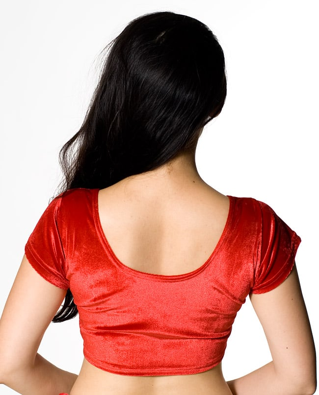 ベルベットのストレッチチョリ - ブルーの写真6 - 別カラーの後ろ姿です。
