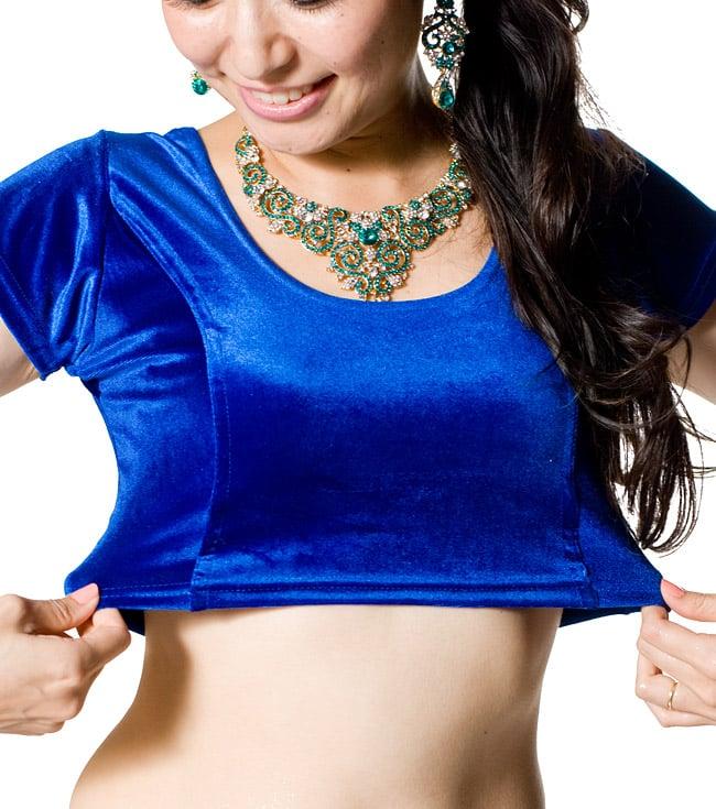 ベルベットのストレッチチョリ - ブルーの写真7 - 程よいストレッチ感でとても着やすいデザインです。