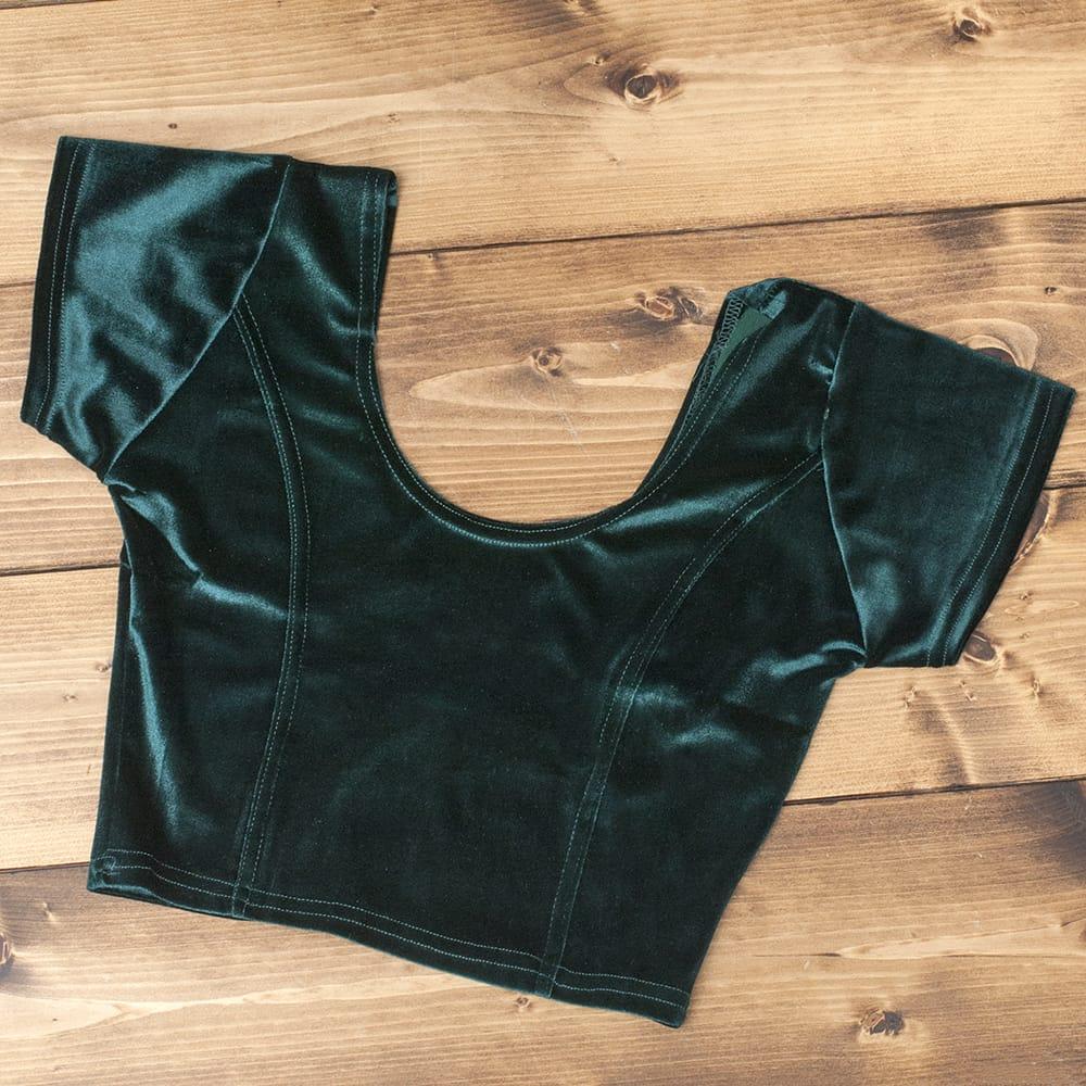 ベルベットのストレッチチョリ - 深緑の写真