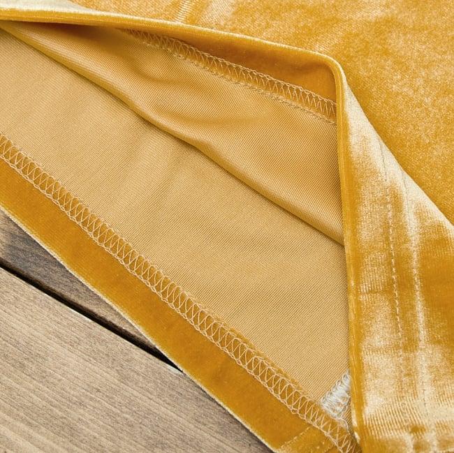 ベルベットのストレッチチョリ - ダークオレンジ 3 - 裏生地はこのような感じでツルッとしているので、とても着やすいです。