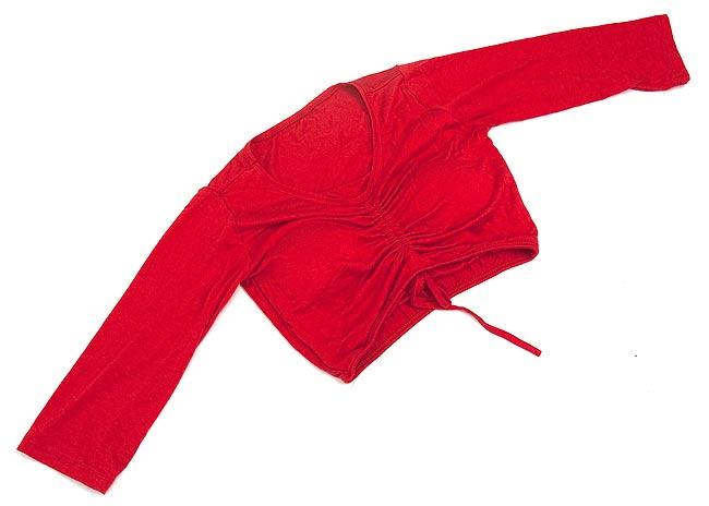 ベリーダンス用7分袖ストレッチチョリ - 赤 3 - 平らなところに置いたところ
