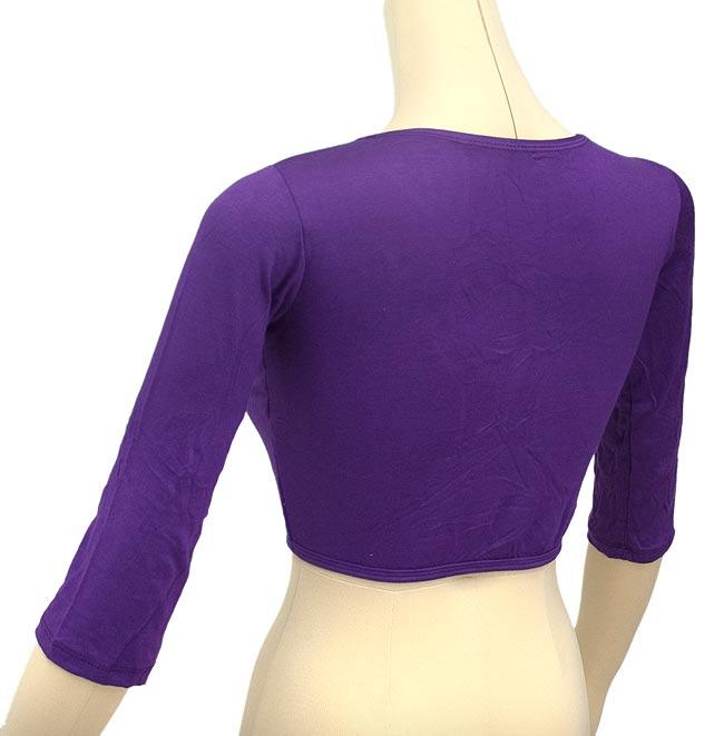 ベリーダンス用7分袖ストレッチチョリ - 赤 4 - 背面です。背面はシンプルな作りです。色はお送りする商品とは異なります。