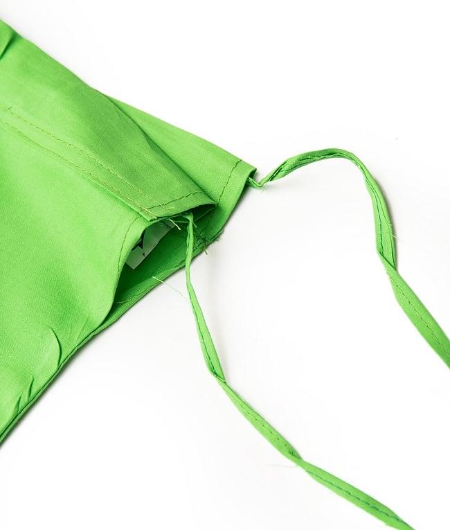 サリーの下に着るペチコート - ライトグリーン 4 - ウエストは紐で絞るタイプになります。