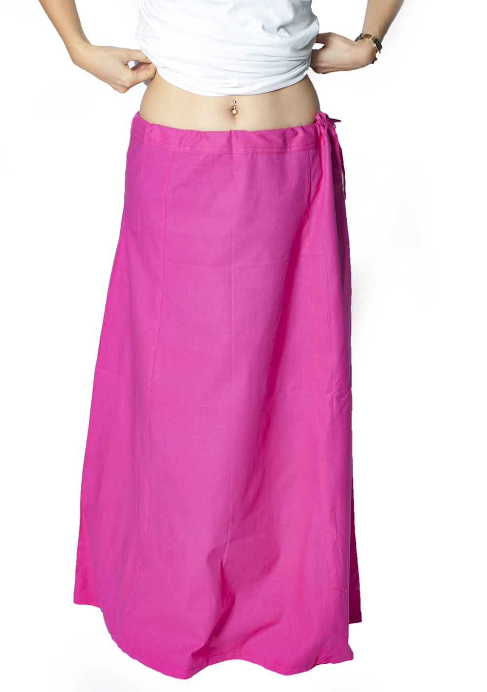 サリーの下に着るペチコート - ライトグリーン 5 - 余裕をもって長めのサイズになっていますので、たくし上げるなどして調整してください。