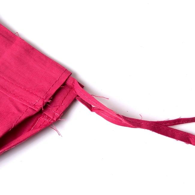 サリーの下に着るペチコート - 濃桃 4 - ウエストは紐で絞るタイプになります。