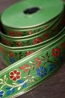 金糸入りチロリアンテープ 緑色 - 25mロール売り【太幅 約4cm× 25m】