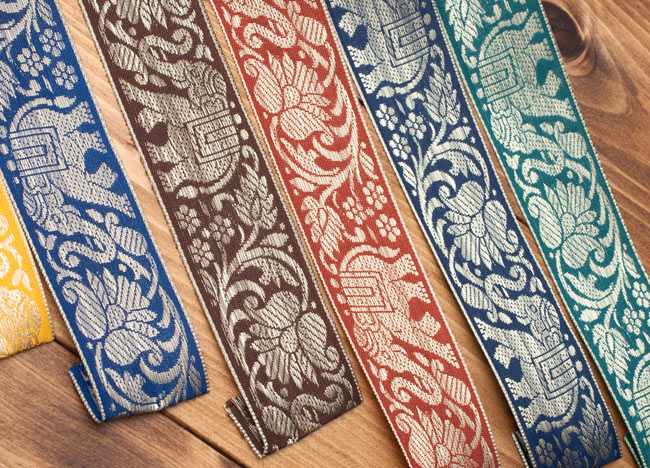 蓮とゾウのチロリアンテープ-約16mロール売り【中幅 約4cm】 3 - いろいろな色を揃えてもいいですね