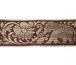 蓮とゾウのチロリアンテープ-約16mロール売り【中幅 約4cm】-10番-茶色